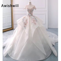 Vestido de Noiva Appliques Lace Flowers Princess Wedding Dresses Off The Shoulder Royal Train Ball Gown Bridal Dress Women