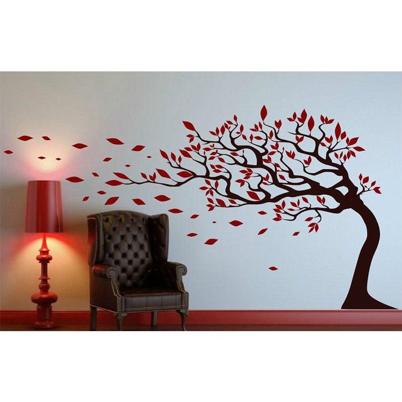 new tree with leaves blowing in the wind wall sticker easy to apply