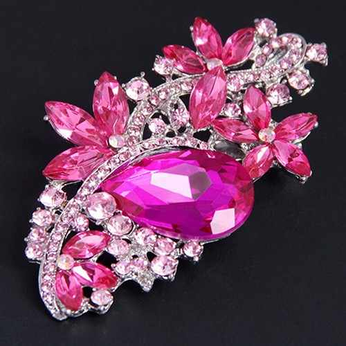 Shiny Waterdrop Flower Brooch For Women Pin Rhinestone Crystal Brooches Women Wedding Jewelry Hijab Scarf Sweater lapel pin