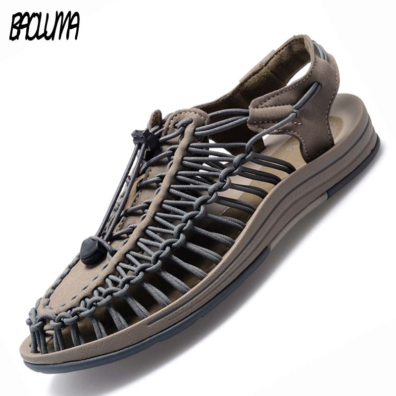 Male Handmade Weave Seaside Beach Man Elastic Sandals Summer Sandals Men Shoes Design Bohemia Sandals Comfortable Casual Shoes
