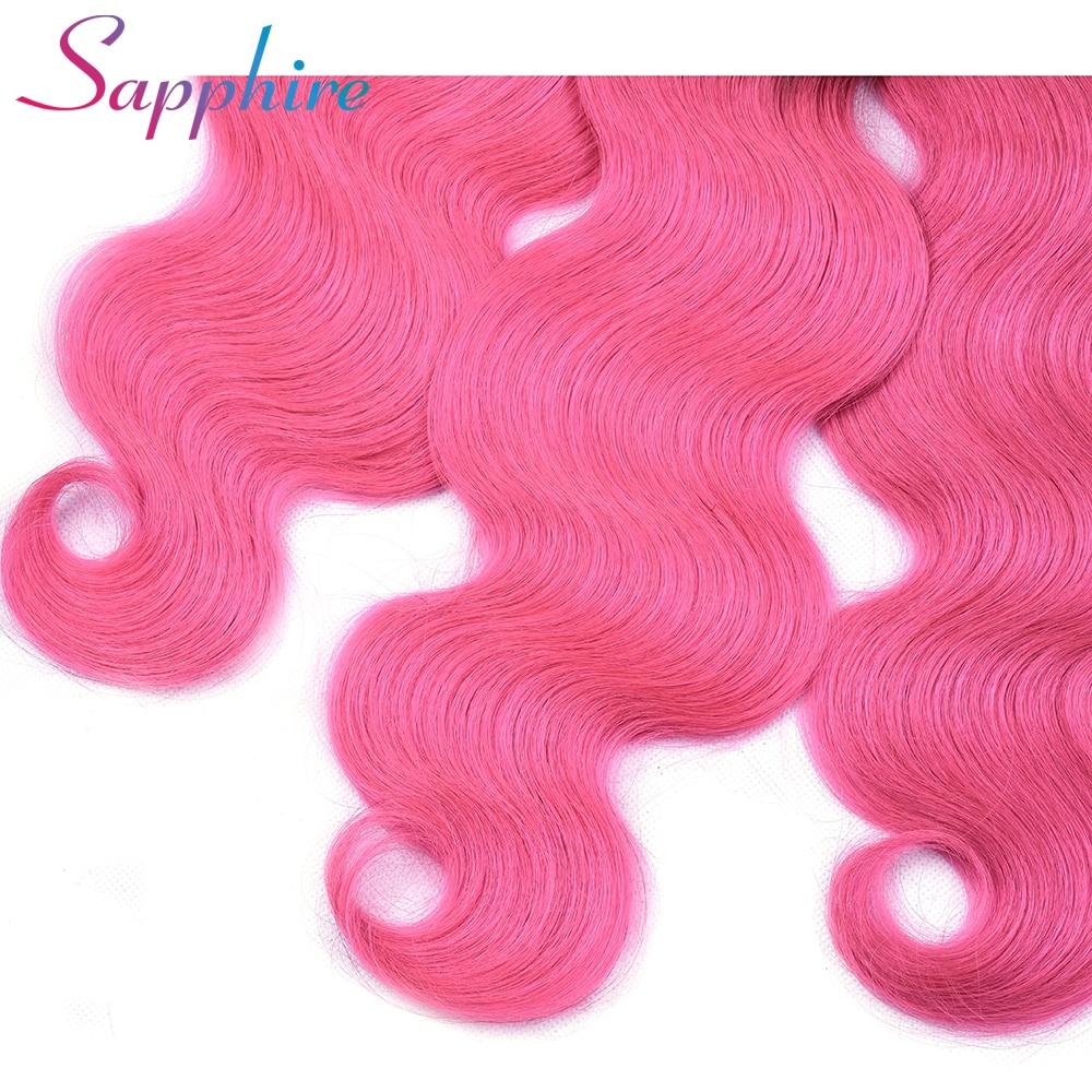 SAPPHIRE Pre-Colored Ombre Brazilian Hair Bundles TB/Pink 4 Bundles Body Wave Human Hair Weave Remy Human Hair