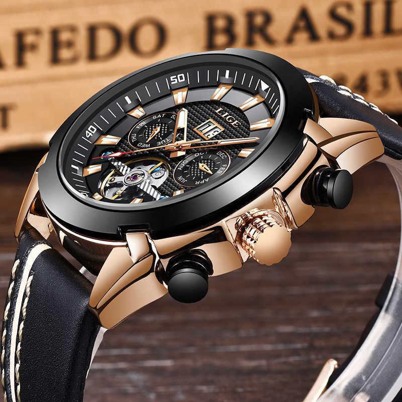 新しい LIGE ファッション時計の男性トップブランドの高級自動機械式時計カジュアルスポーツ防水男性時計レロジオ Masculino + ボックス
