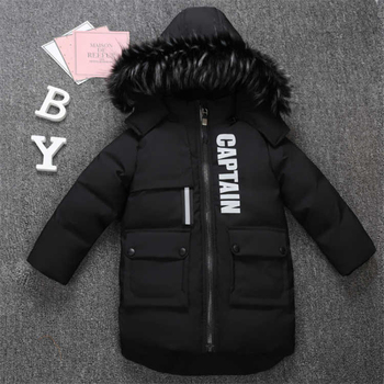 2019 new winter children's clothing children's boy cotton padded warm down jacket in the big boy baby long coat coat 1