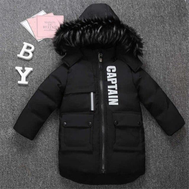 2019 new winter children's clothing children's boy cotton padded warm down jacket in the big boy baby long coat coat 1
