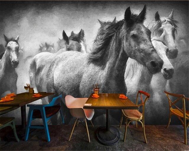 Beibehang Photo Papier Peint Mural Vol Créative Cheval Noir Et Blanc