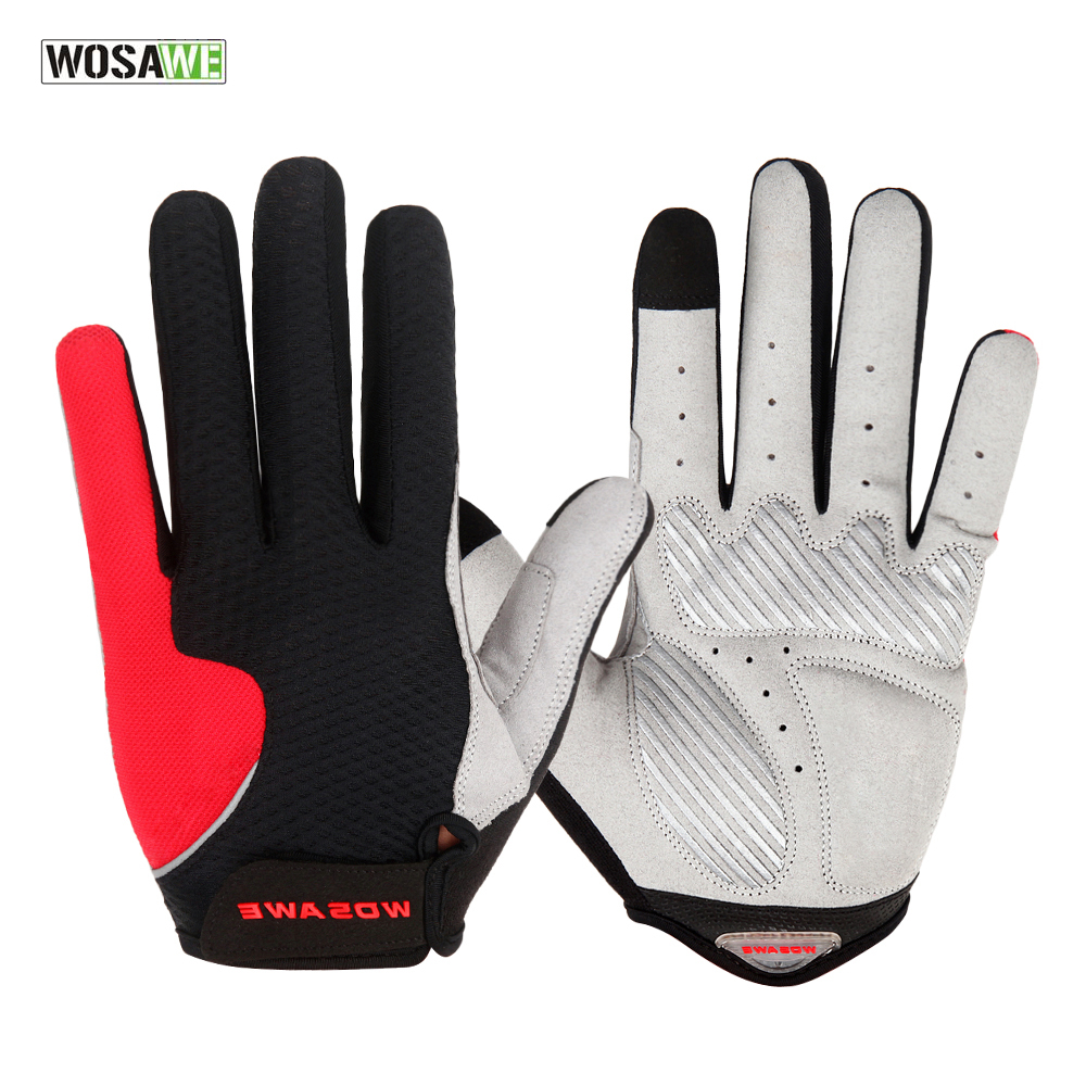 Mens gloves summer - Wosawe Cycling Gloves Women Full Finger Bike Bicycle Mtb Gloves Touch Screen Gel Padded Lycra Mittens