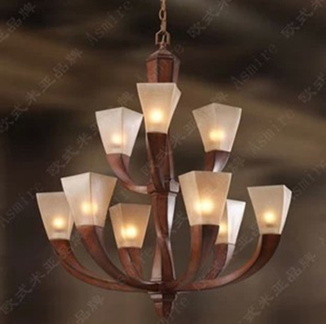 Red Resin hanging chandelier  lustre light for dining led Retro chandelier 9-arm antique glass lamp living room bedroom lighting