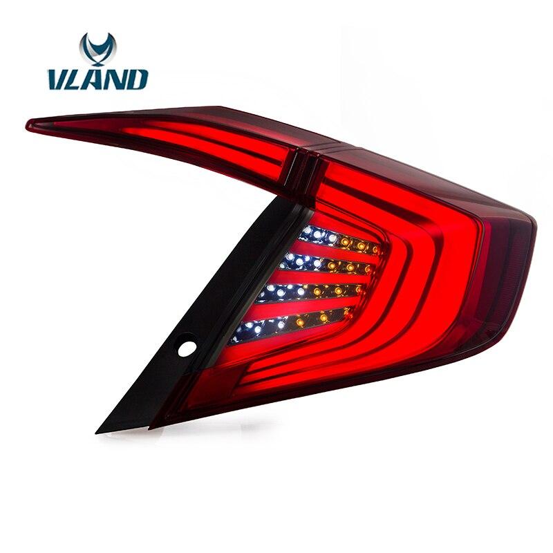 VLAND 4 шт. автомобилей Стайлинг хвост света для Honda Civic 2016 2017 красный объектив задний фонарь в сборе обычай фонарь