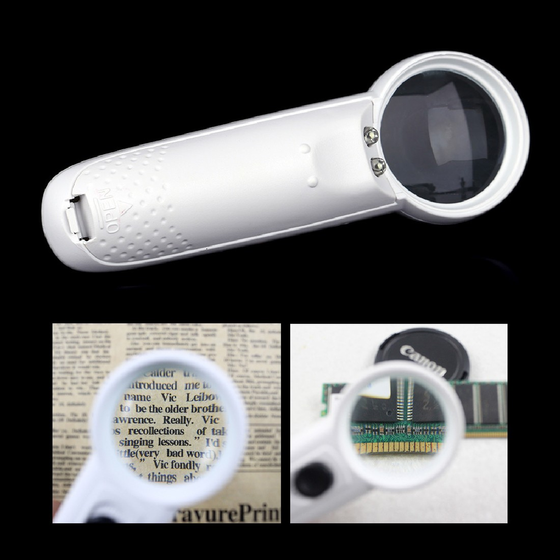 High 1pc Professional 37mm Diameter 15X Magnifier Portable Pocket Handheld Glass Loupe Magnifying Tool With 2 LED Light Lamps