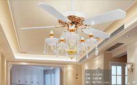Кристалл Потолочная люстра лампа вентилятор Ресторан вентилятор лампа хрустальная люстра вентилятор огни Континентальный простой америк