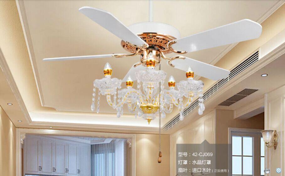 Cristal plafond lustre lampe ventilateur restaurant Ventilateur lampe lustre en cristal lumières Ventilateur continental simple Américain 52 pouces
