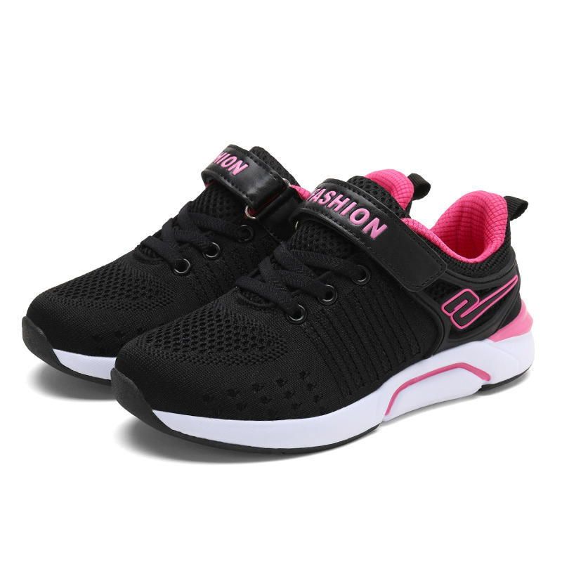 ULKNN Girls Black Children's Sports Shoes Spring Autumn Breathable Mesh Knit Shoes Pupils Kids Leisure Sneakers For Student
