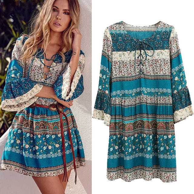 Spring NEW Boho Dress Chic Floral Print Mini Desses V-neck Hippie Women Dresses 2018 Casual Bohemia Brand Clothing XXL with Belt