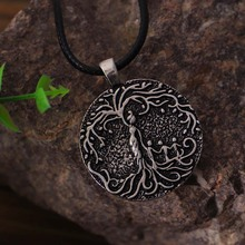 Double Sided Carved Mom & Several Children Family Tree of Life Necklace Coin Pendant Mom K