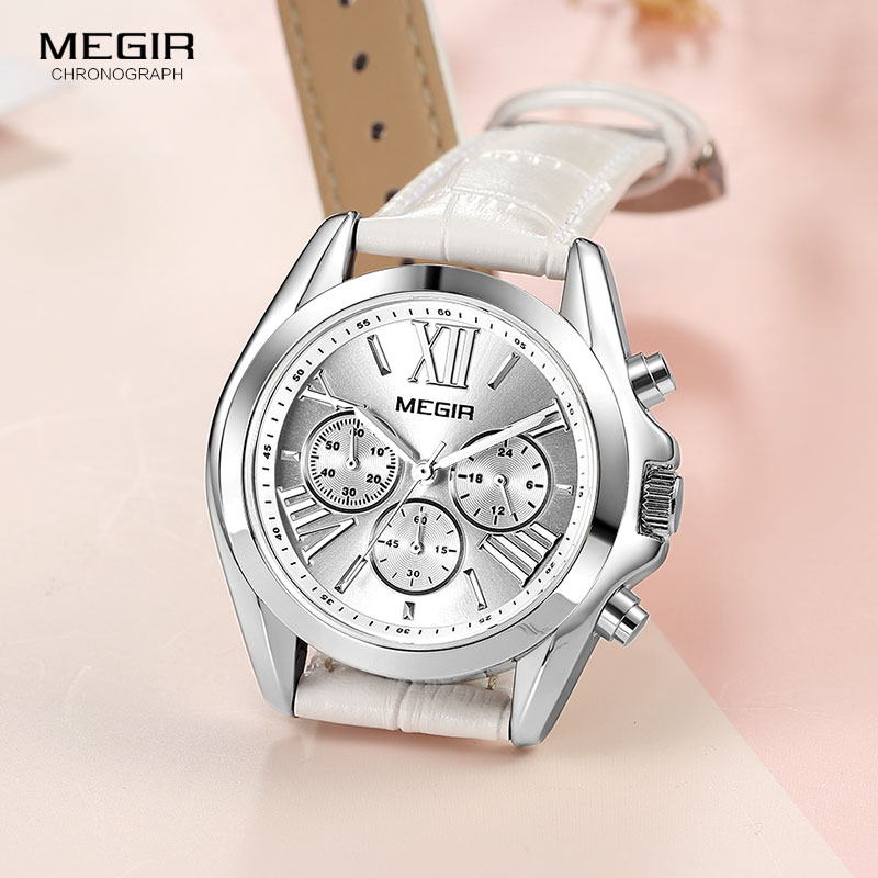 Image 3 - MEGIR2019 New Luxury Leather Watch Women Female Top Brand Chronograph Quartz Wristwatch Lady Relogios Femininos Clock 2114 White-in Women's Watches from Watches