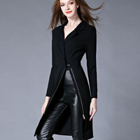 Europe Style Suit Lapel Long Motorcycle Windbreaker Fashion Solid Color V Neck Slim Dress