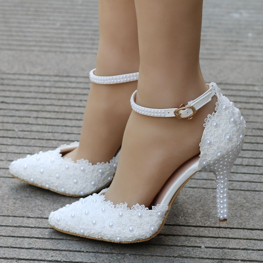 Newest fashion woman high heel wedding shoes lace thin heel elegant party  woman shoes-in High Heels from Shoes on Aliexpress.com  bd0fac5510d9
