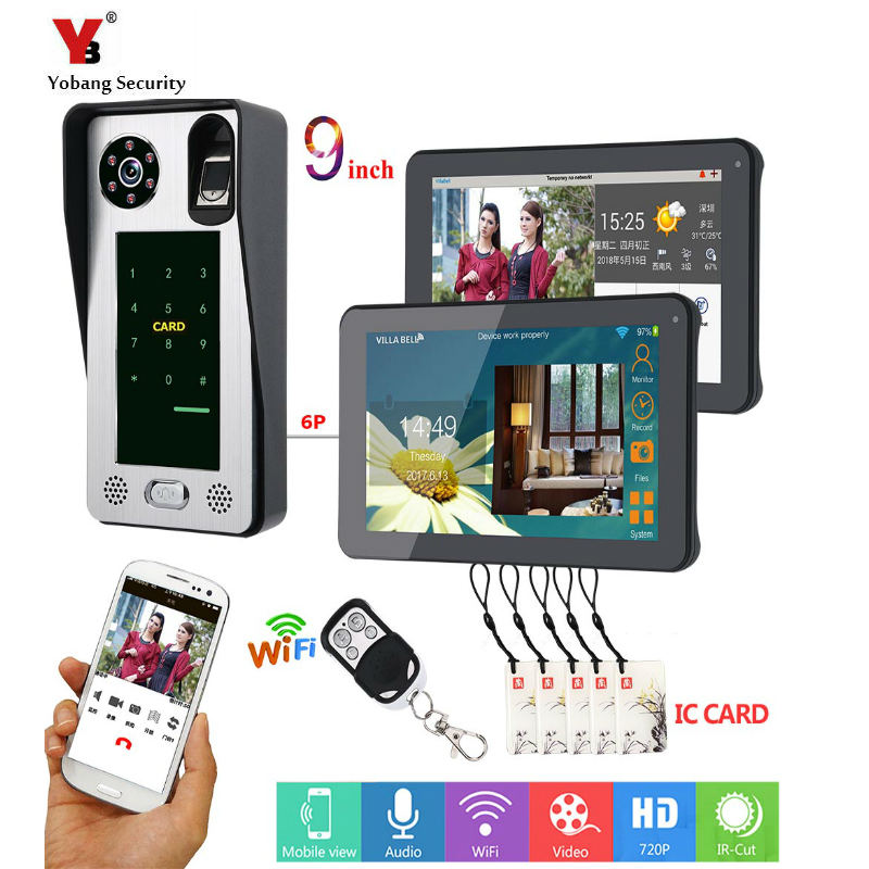 2 Monitors 9 Inch Wired Wifi Fingerprint IC Card  Video Door Phone Doorbell Intercom System ,Support Remote APP Unlocking