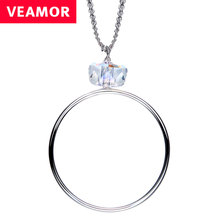 Veamor 925 sterling silver cube crystal round pendant necklaces for women circle chain necklace jewelry crystals from swarovski