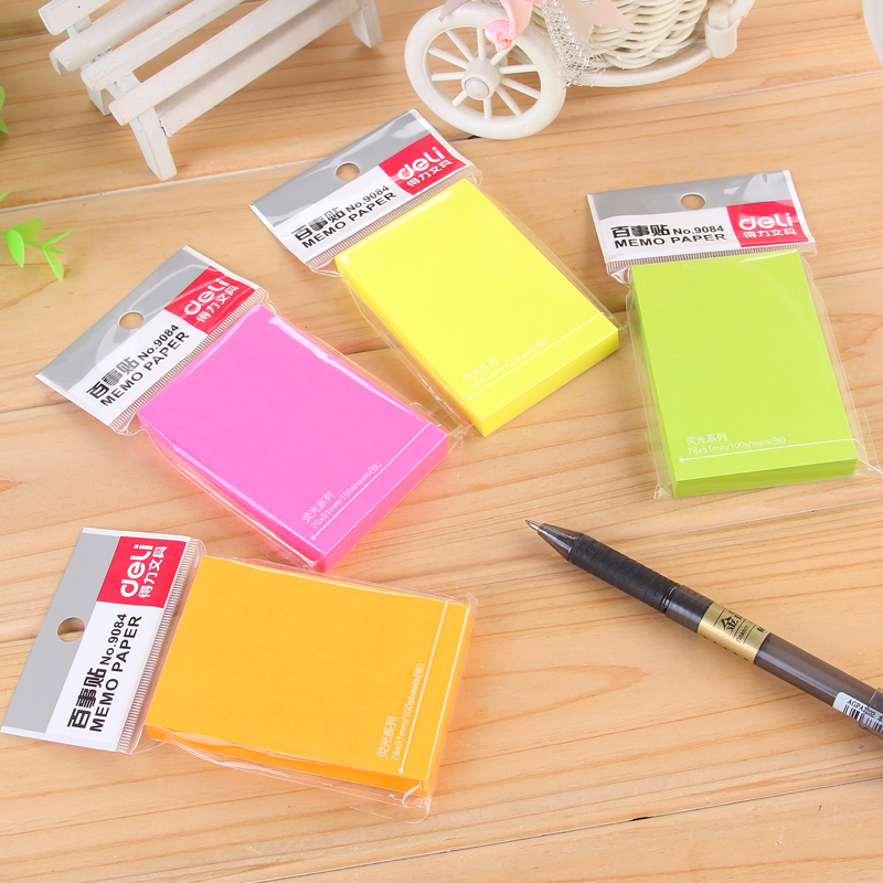 1 Pack 100 Sheets Colorful Memo Pads Office Stickers Self-Adhesive Sticky Notes 76x51mm Post It Deli 9084