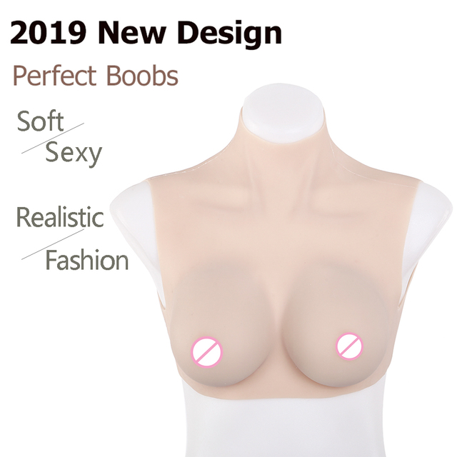 IVITA Artificial Silicone Breast Forms B C Cup Fake Boobs Enhancer Chest Cosplay for Crossdresser Transgender Shemale Drag Queen