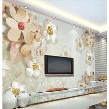 Custom wallpaper murals 3d stereo light luxury simple European style jewelry flower TV background wall - high-grade cloth