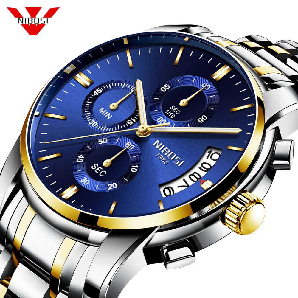 NIBOSI 2019 Luxury Business Men Quartz Watches Luminous Waterproof Military Sport Watch Male Wristwatches Relogio Masculino