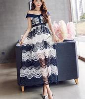 Free Shipping High Quality Star Style Sexy 2018 New Arrival Off Shoulder Color Block Lace Hollow