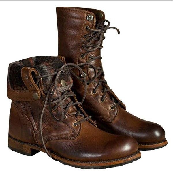À Haute 12 Cuir Militaire Lacets Brun La Punk Cheville Bottes Pic Pu Us6 Taille Top Combat Plus Mens As Chaussures Rétro En 3AjLR54