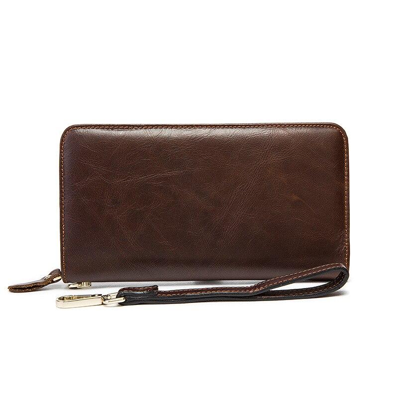 Genuine Leather Wallet Men Purse Men Coin Clutch Mens Wallet Zipper Multi-card bit Phone Purse Famous Brand Vintage Men Wallet