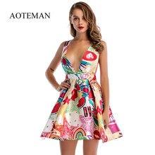 61cae32194 AOTEMAN sukienka kobiety 2018 Sexy dojrzałe styl linii głębokie V Mini  kamizelka do sukienki rocznika kobiet