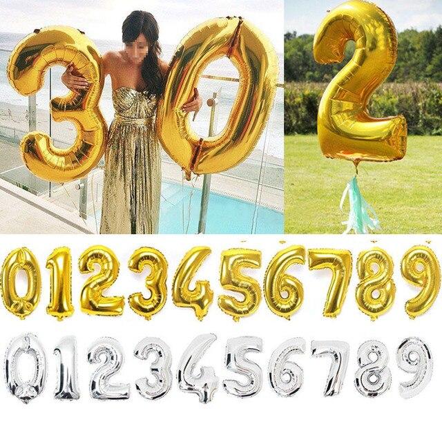 40 дюйм(ов) цвета: золотистый, серебристый номер Фольга шары большие цифры гелия баллоны надувные свадебные украшения День рождения поставки