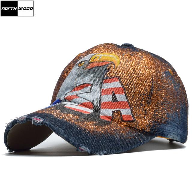 USA Lettering Baseball Cap USA Hand painted
