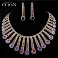 Elegant Purple Austrian Crystal Silver Plated Wedding Gifts Promotion Fashion Rhinestone Bridal Wedding Jewelry Sets For Women