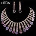 Elegante Roxo Cristal Austríaco de Prata Banhado Presentes de Casamento Promoção Moda Rhinestone Nupcial Conjuntos de Jóias de Casamento Para As Mulheres