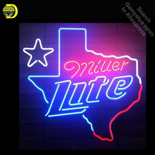 Neon Sign for Miller Lite Texas Neon Bulb sign handcraft Signboard Real Glass tube Dropshipping personalized neon bar lights
