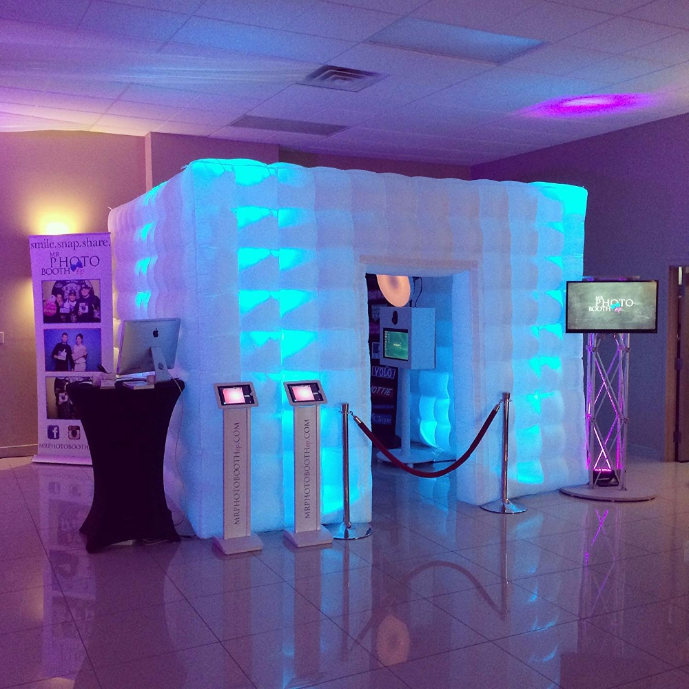 Stager booth Inflatable Portable Photo Booth Enclosure with 16 Colors LED Changing Lights Inner Air Blower for Weddings Parties