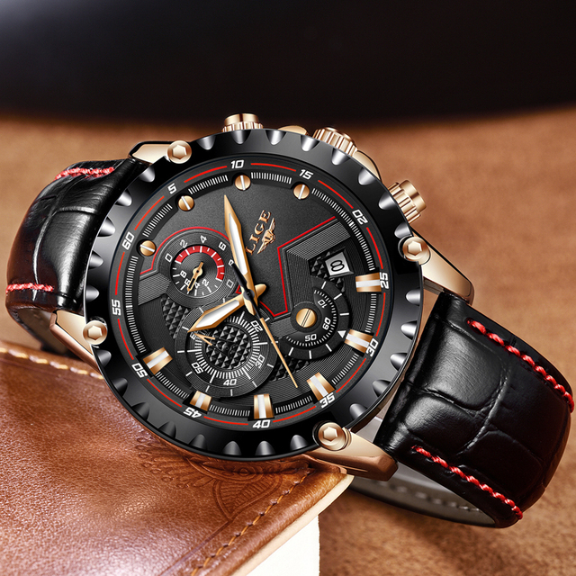 Mens Watches Top Brand Luxury Quartz Gold Watch Men Casual Leather Military Waterproof Sport Wrist Watch 3