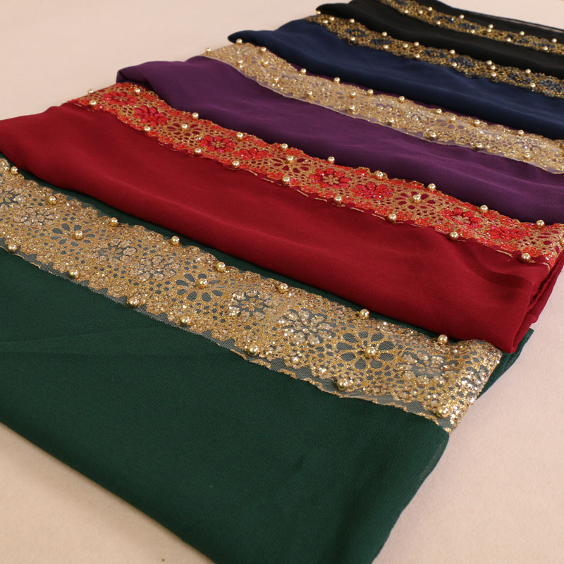Muslim Viscose   Scarf   Hijab   Scarf   female Bubble Chiffon Shawl Pearl rhinestone Lace   Wrap   Plain Long   Scarves   Stitching 180x85cm