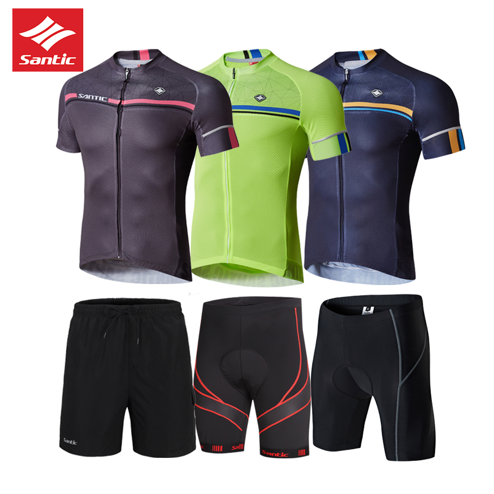 SANTIC HOT SELL men's cycling set spring summer short sleeve Mountain Bicycle Clothing Breathable cycling Jersey santic ciclismo 2017 spring summer cycling jersey women long sleeve mountain biking jerseys shirt outdoor sports clothing ropa ciclismo santic