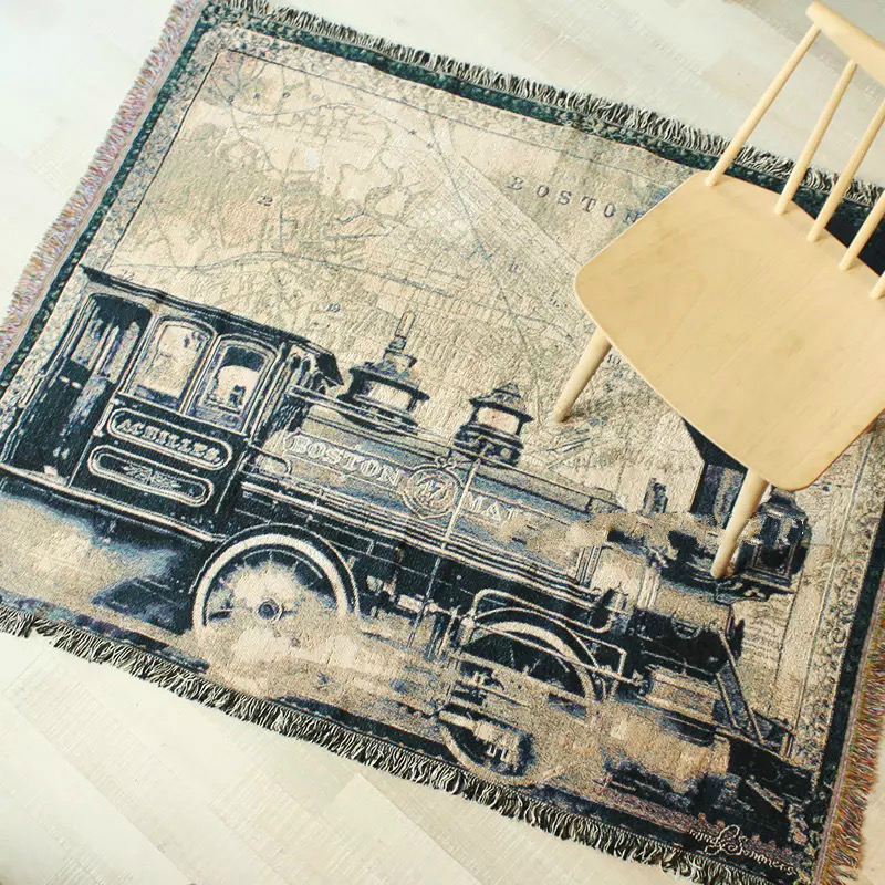 European classical blankets locomotive pattern retro sofa towel cotton tapestry soft carpet home decoration tapestry sofa towelEuropean classical blankets locomotive pattern retro sofa towel cotton tapestry soft carpet home decoration tapestry sofa towel