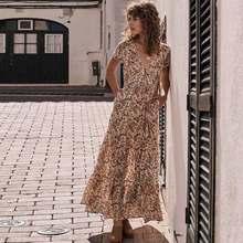 332e44c995 Boho verão Inspirado vintage maxi vestidos preto estampado floral Com  Decote Em V botões frontais mulheres chiques vestidos de r.