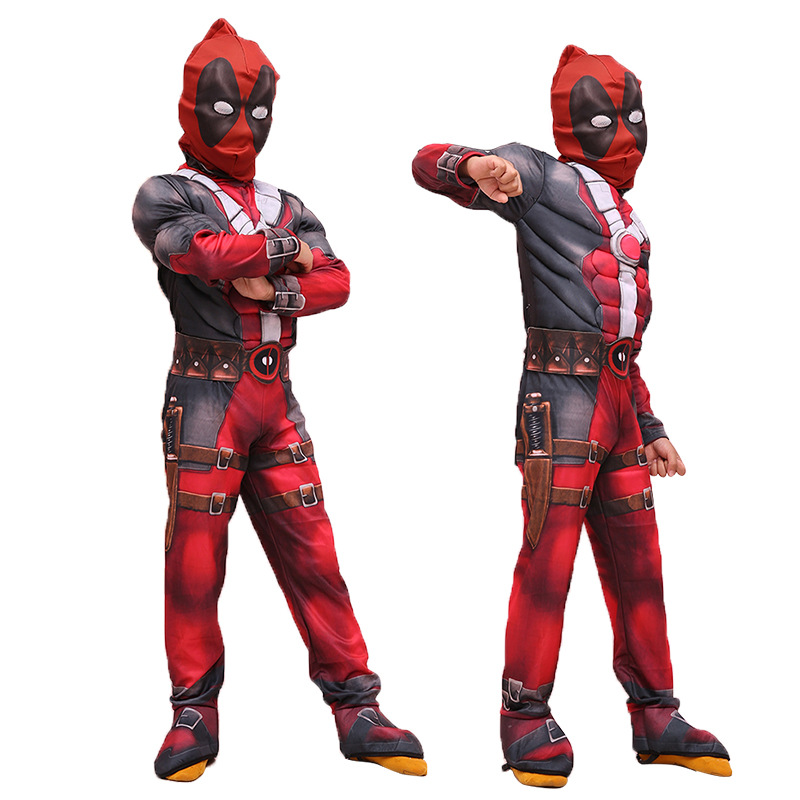 Deadpool Cosplay Costume Kids Child Deadpool Muscle Costume Jumpsuit One-pieces With Eye Mask Boy's Halloween Carnival Costume