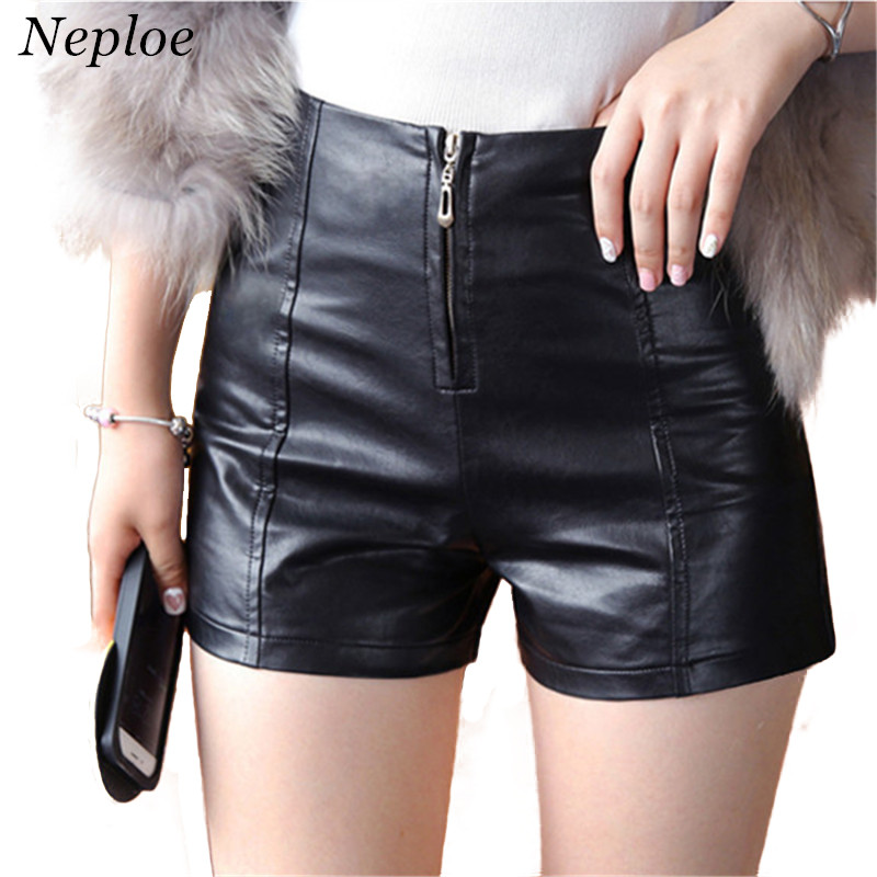 Neploe Autumn Winter Female Shorts Slim Casual Leather Loose High Waist Shorts Women PU Zipper Skinny Cool Shorts 66154