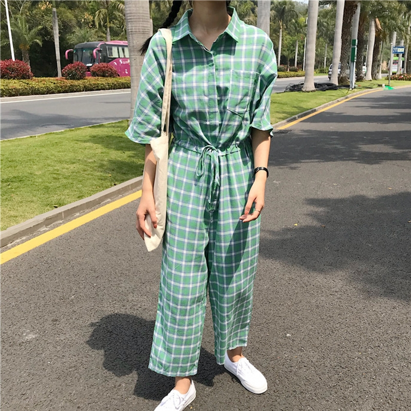 New 2018 Plaid Jumpsuit Women Turn-down Collar Single-Breasted Elastic Waist With Sashes Ankle-Length Overalls Rompers S85695