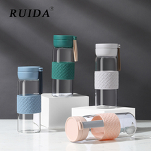 RUIDA Glass Water Bottle with Silicone Cover Portable Bottles Outdoor Travel Plastic Student Drinkware Best Gift