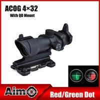 목표로-O 사냥 Softair ACOG 4x32 소총 범위 레드/그린 십자선 공기 총 빠른 마운트 장난감 총 1