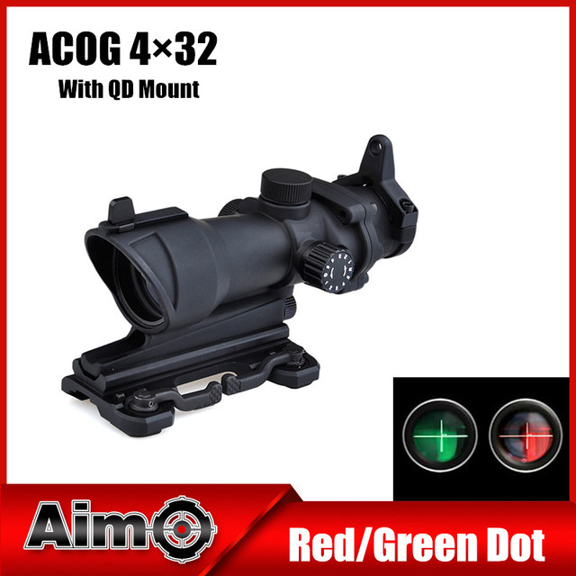 Aim-O Hunting Softair ACOG 4x32 Rifle Spotting Scope Red / Green Reticle for Air Gun With Quick Mount Airsoft 1 set AO5319
