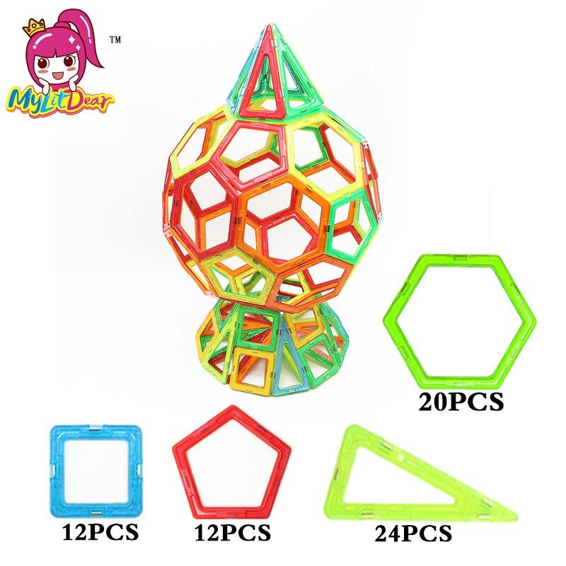 MyliDear 68ピースキッズマグネットビルディングモデルブロックおもちゃDIY 3D教育建設磁気デザイナーレンガ子供のおもちゃ