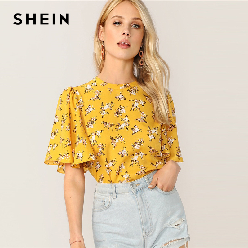 SHEIN Zip Back Flutter Sleeve Ditsy Floral Top Prairie Chic Women Clothing Summer Round Neck Half Sleeve Blouses